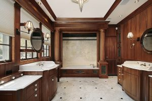 Luxury master bath in comtemporary suburban home